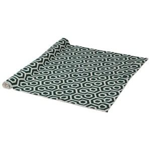 Ivory and green pentagon crewel rug