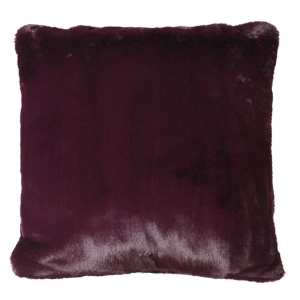 Wine faux fur cushion