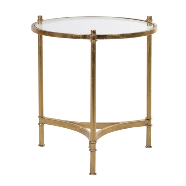 Round gold glass side table