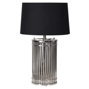 Nickel cage lamp with black shade