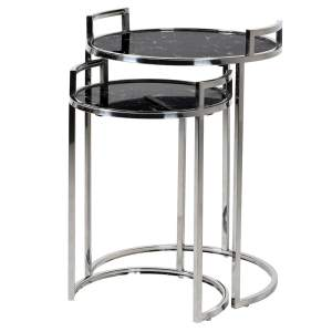Silver and black marble side tables (set of 2)
