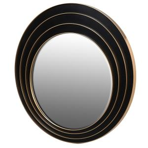 Round black and gold triple ring mirror
