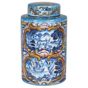 Decorative majolica jar