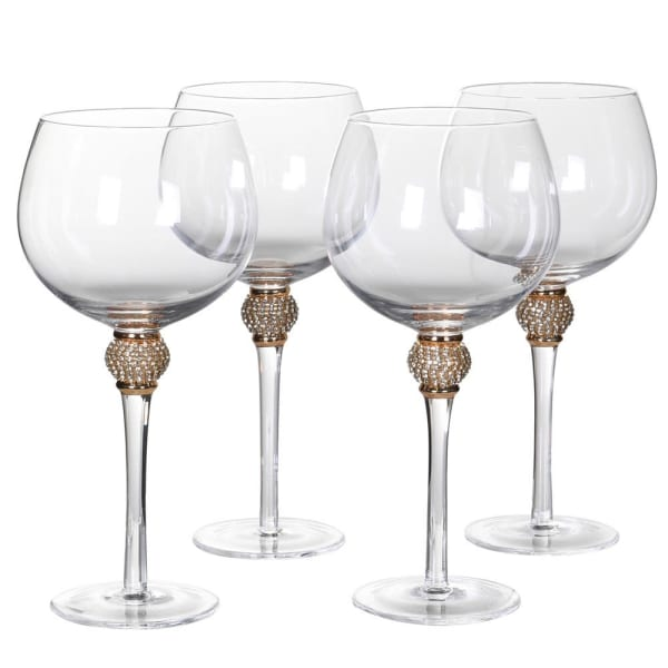 Gold diamanté ball crystal gin glasses (set of 4)