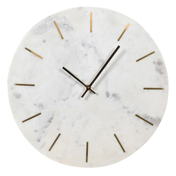 Round white and gold marble clock