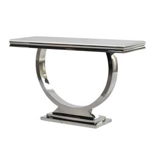 steel and white marble console table