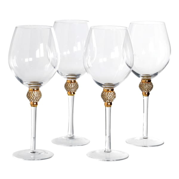 Gold diamanté ball crystal red wine glasses (set of 4)