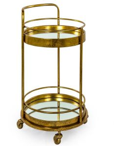 Antique gold/bronze leaf round bar trolley with mirrored shelves