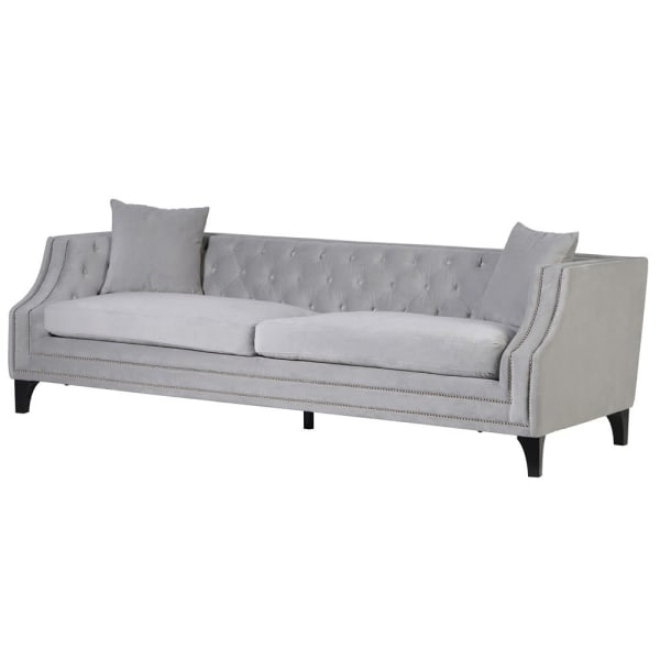 Grey button back studded sofa