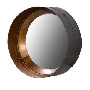 Brown and gold cylinder mirror (medium)