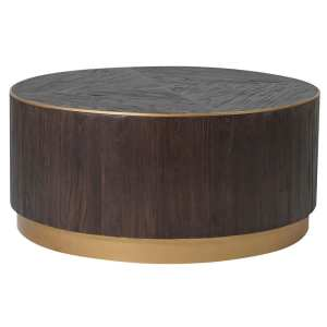 Dark wood and copper round coffee table
