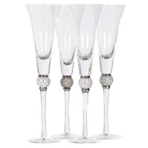 Silver diamanté ball crystal champagne flutes (set of 4)