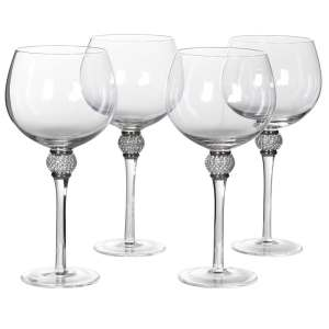 Silver diamanté ball crystal gin glasses (set of 4)