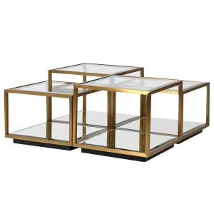 Multi level gold and glass coffee table unit