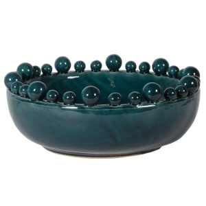 Teal ceramic bowl with ball detail