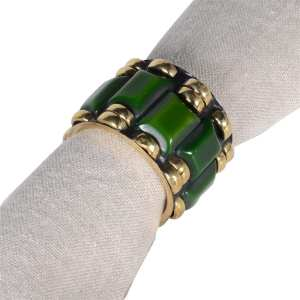 Brass and green napkin holders (set of 6)