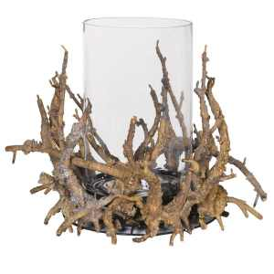 Twig and glass decorative candle holder