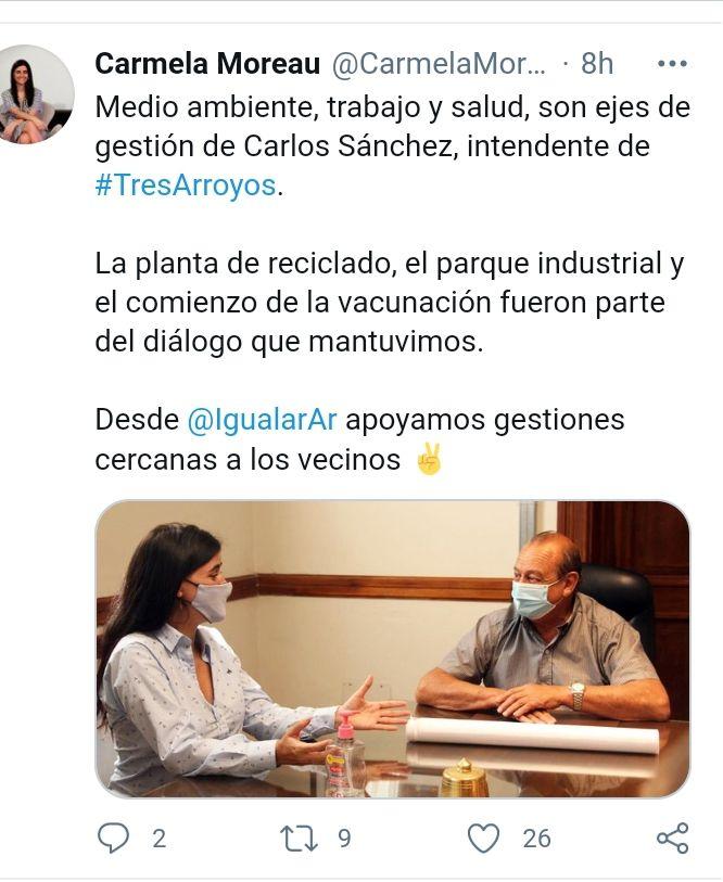 Carmela Moreau en Tres Arroyos (fotos: twitter)