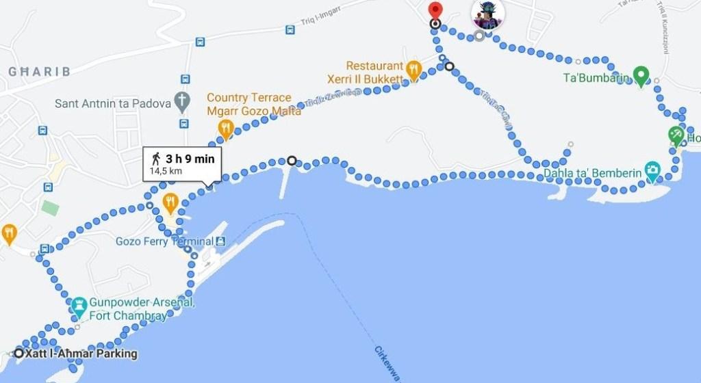 Viikonloppu Gozolla  - reittikartta lauantai