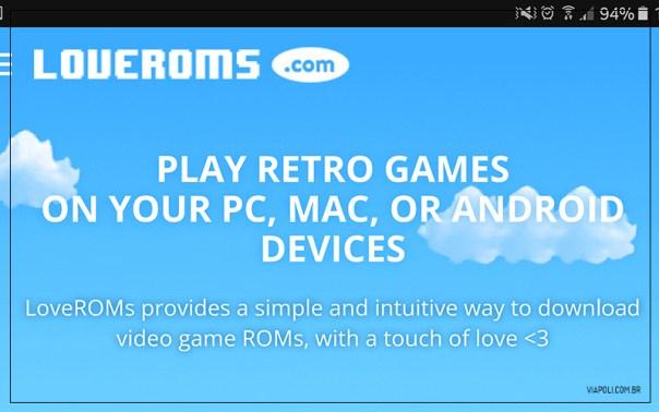 imagem do site loverooms para baixar jogos para o simulador de super nintendo