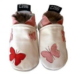chaussons-de bebe -papillons-rouge-rose