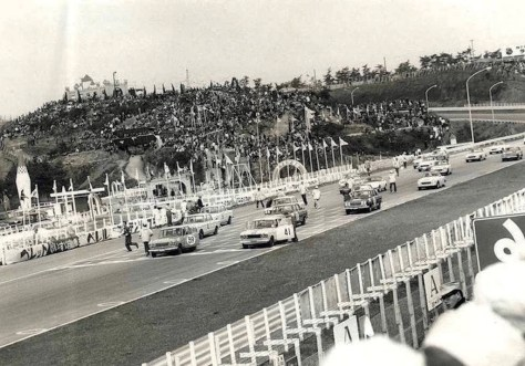 The Skyline GT Lined Up for the GT-II Race During the 1964 Japan Grand