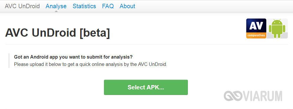 Nástroj UnDroid AVC pro kontrolu souborů apk