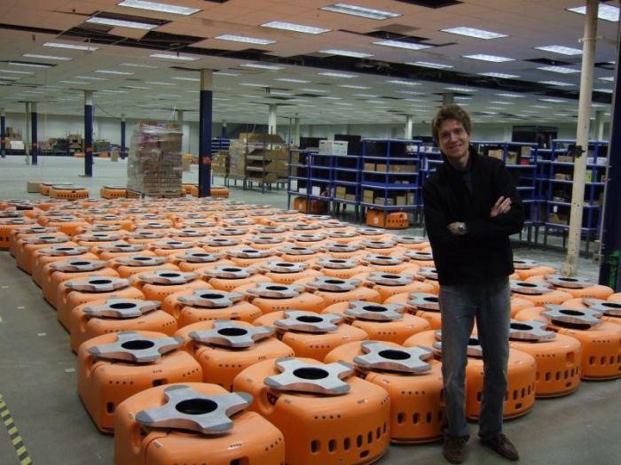 Robots en almacenes Amazon