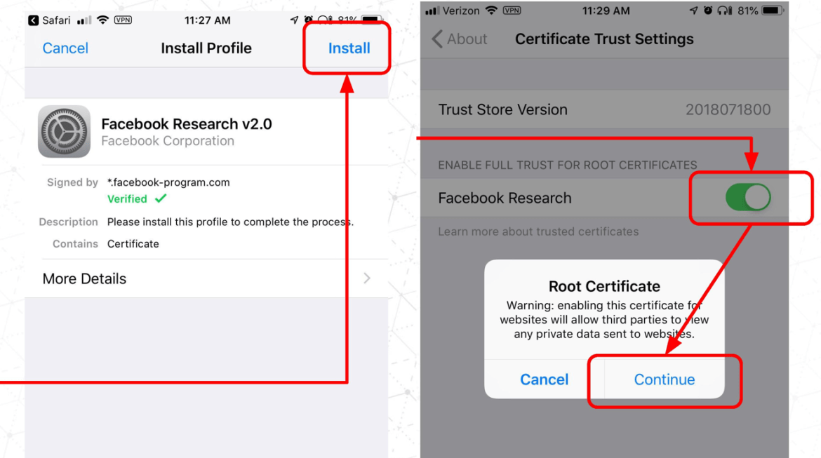 Facebook Research Install Root Certificate