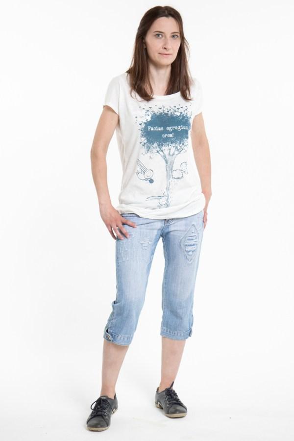 Блузка/футболка белая, женская с рисунком. ViaVestis