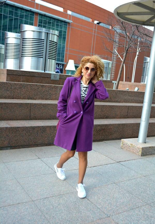женское пальто, фиолетовое пальто, дизайнерское пальто, пальто женское купить