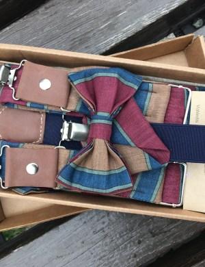 Подтяжки c галстуком-бабочкой и карманным платком