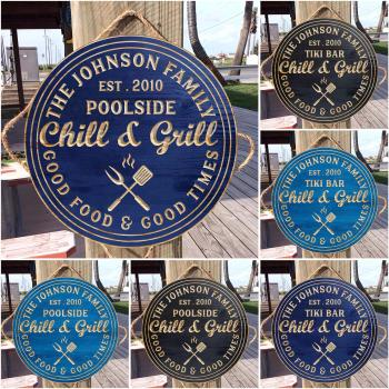 Bar and Grill Sign, Personalized Bar Sign, Wedding Gift, Swimming Pool, Gifts for Men, Custom Wooden Sign, BBQ Sign