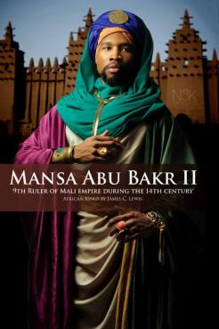 """AFRICAN KING SERIES   Mansa Abu Bakr II ( also known as Mansa Abu Bakari II circa 14th century) was the ninth Mansa (Title of Ruler in Mali) of the Mali Empire, the richest and largest empire on earth at that time, covering nearly all of West Africa. He succeeded his nephew Mansa Mohammed ibn Gao and preceded Mansa Musa. Abu Bakr II appears to have abdicated his throne (1311) in order to explore """"the limits of the ocean"""" and was said to have set out on this feat 181 years prior to Christopher Columbus however, his expedition never returned. He is now referred to as """"The Voyager King""""   Model: Zaq Jackson   stylist & photographer: James C. Lewis"""