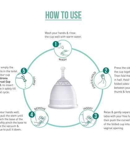 Sirona Pro Reusable Menstrual Cup – Small (1 Unit), Super Soft FDA Approved Made with Liquid Medical Grade Silicone
