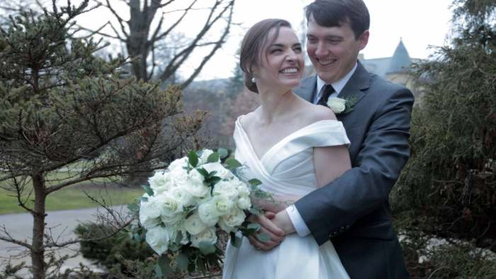 notre dame wedding day film. Winter Wedding, cool and grey. Ethereal beauty brotherly love and family.
