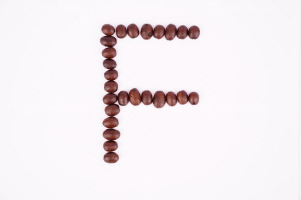 F coffee letter stock photo