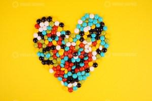 Heart shape chocolate beans