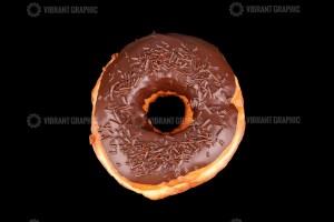Chocolate donut on black background