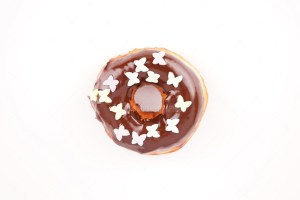 Chocolate donut with topping