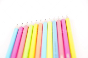 Colorful pencils isolated on white