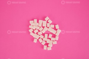 Cube sugar on pink stock image