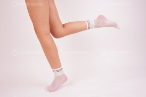 Rainbow white nylon socks stock photo