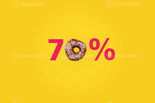 Seventy percent made with number and donut
