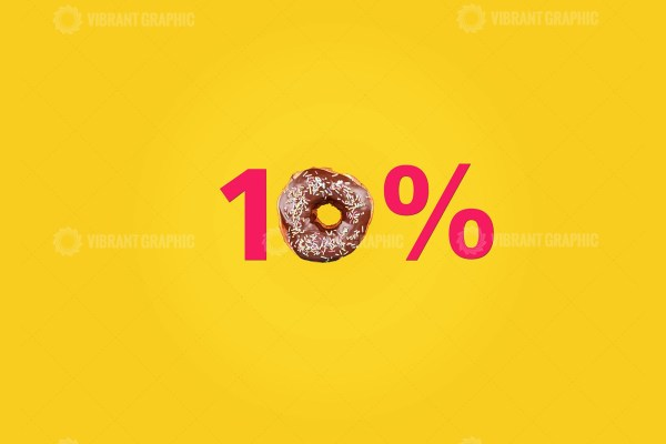 Ten percent made with number and doughnut