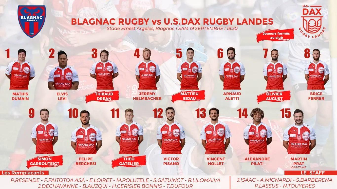 Rugby Nationale ( DAX ) : 1ère composition d'équipe pour cette saison 2020/2021 ! 🔴⚪️🏈