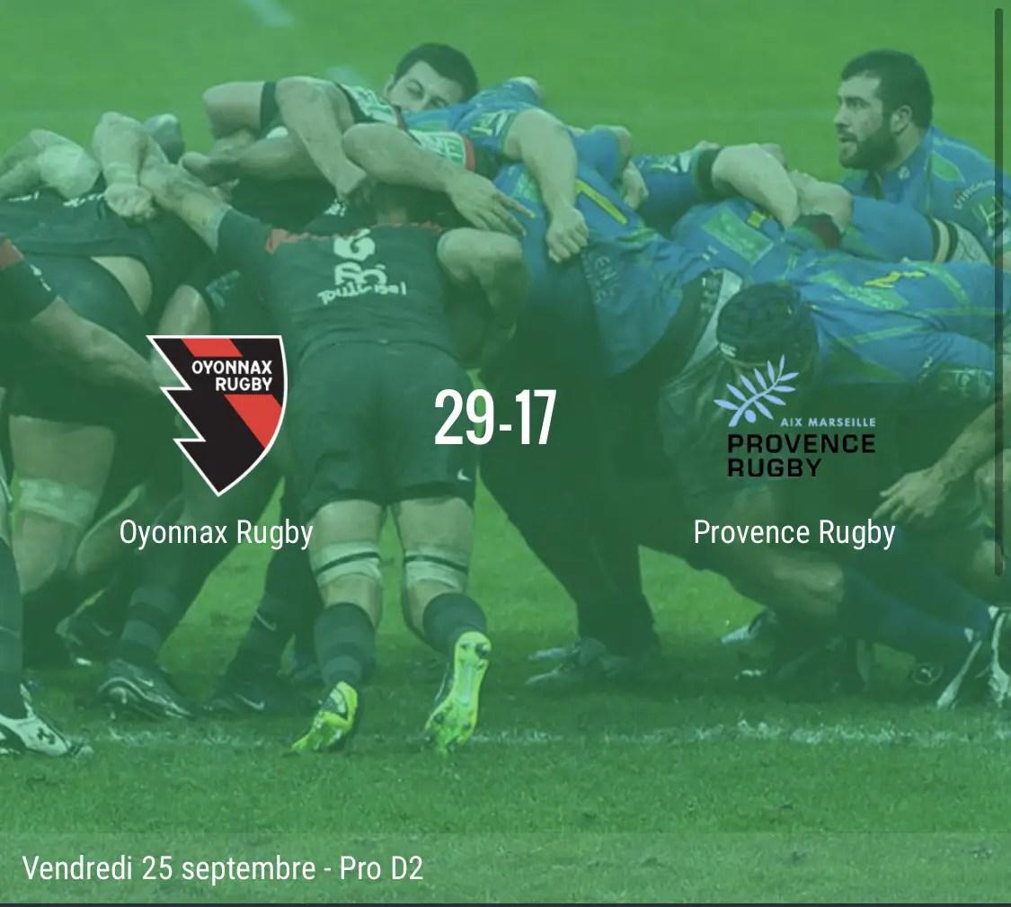 Rugby Pro D2 : Oyonnax s'impose face à Aix en Provence ( 29- 17 )