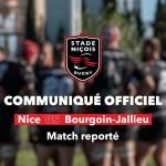 Rugby Nationale ( Stade Niçois ) : La rencontre Nice vs C.S. Bourgoin-Jallieu est reportée.