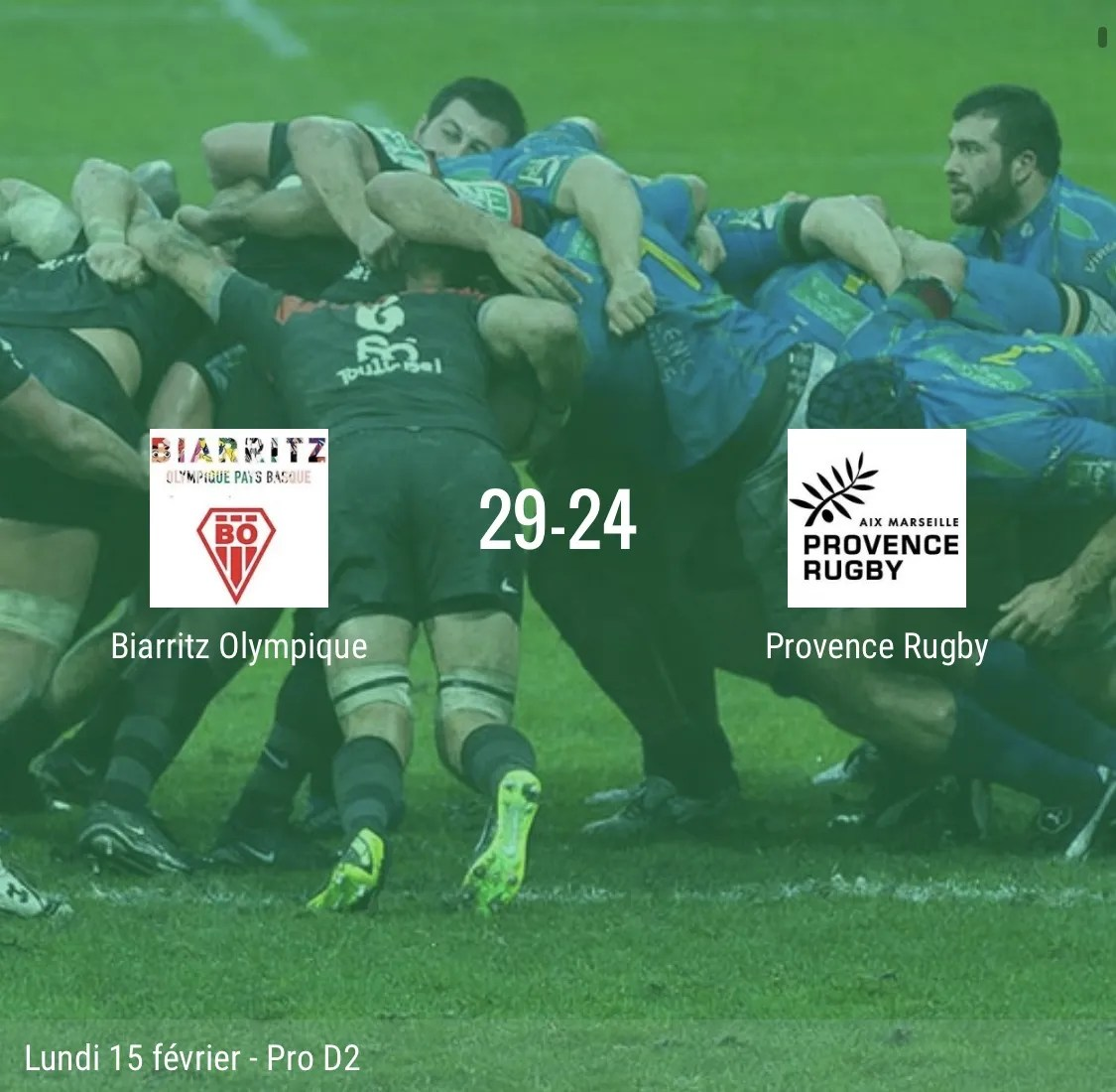 Rugby pro D2 ( résultat ) Biarritz – Provence rugby 29-24