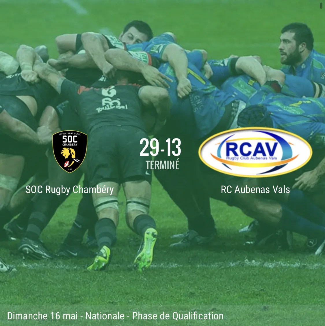 Rugby Nationale : Chambéry – Aubenas ( 29 -13 )
